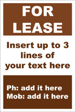 For Lease Sign No: D8 Customise your details