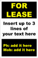 For Lease Sign No. D10 Customise your details