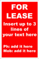For Lease Sign No. F1 Customise your details