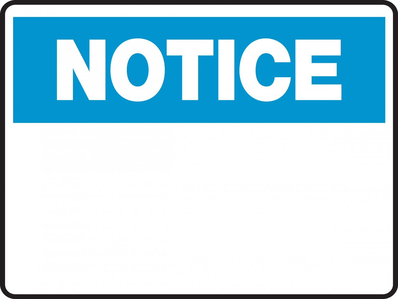 Notice Sign Blank Insert Custom Text Property Signs