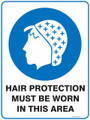 Mandatory Sign - HAIR PROTECTION MUST BE WORN IN THIS AREA