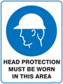 Mandatory Sign - HEAD PROTECTION MUST BE WORN IN THIS AREA
