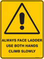 Warning  Sign - ALWAYS USE LADDER USE BOTH HANDS CLIMB SLOWLY