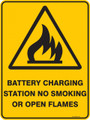 Warning  Sign - BATTERY CHARGING STATION NO SMOKING OR OPEN FLAMES