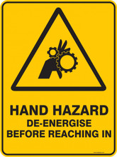 Warning  Sign - HAND HAZARD DE ENERGISE BEFORE REACHING IN