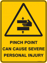 Warning  Sign - PINCH POINT CAN CAUSE SEVERE PERSONAL INJURY