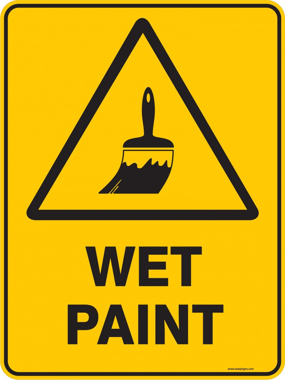 warning sign wet paint ready signs
