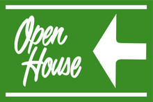 Open House Sign Green (Left Pointing Arrow)