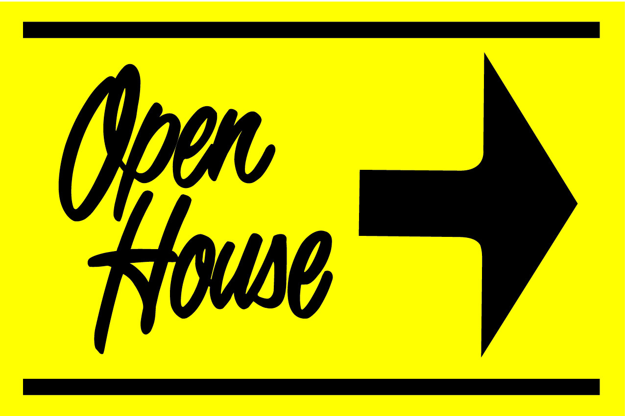 Open House Sign Yellow/Black - Right Arrow