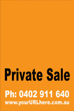 Private Sale Sign No: 10 - Orange Customise your own Phone & URL
