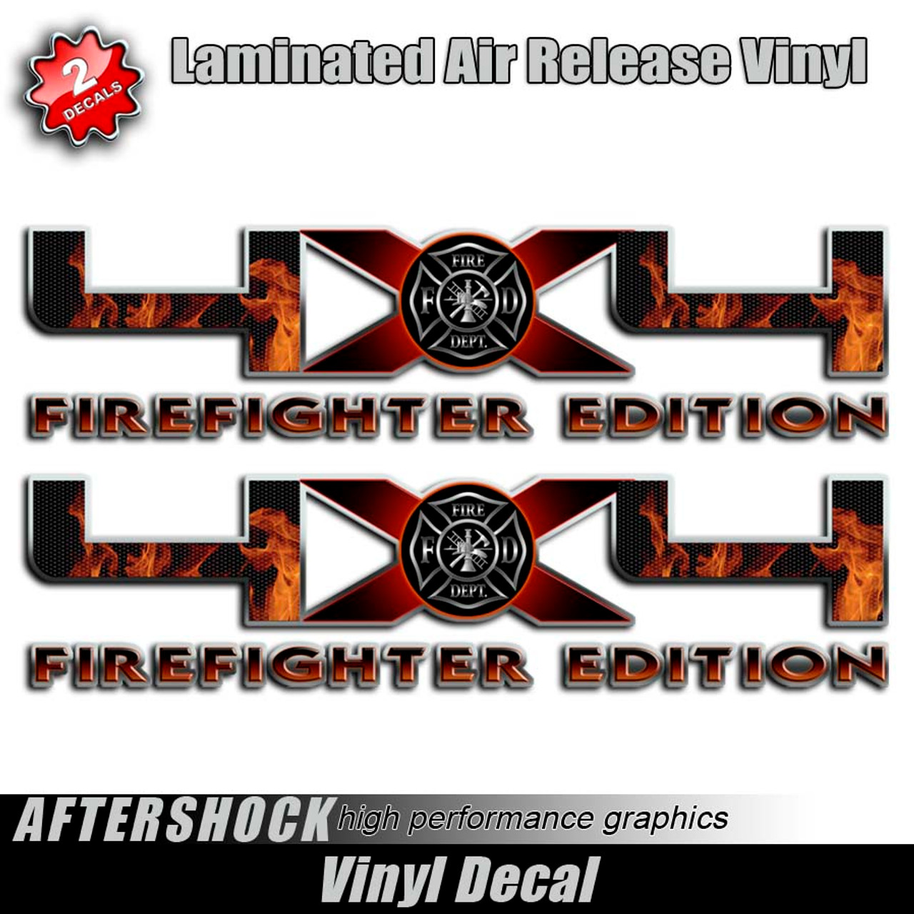 Red F Firefighter Edition Truck Decals X Fire Ford Stickers - Truck decals