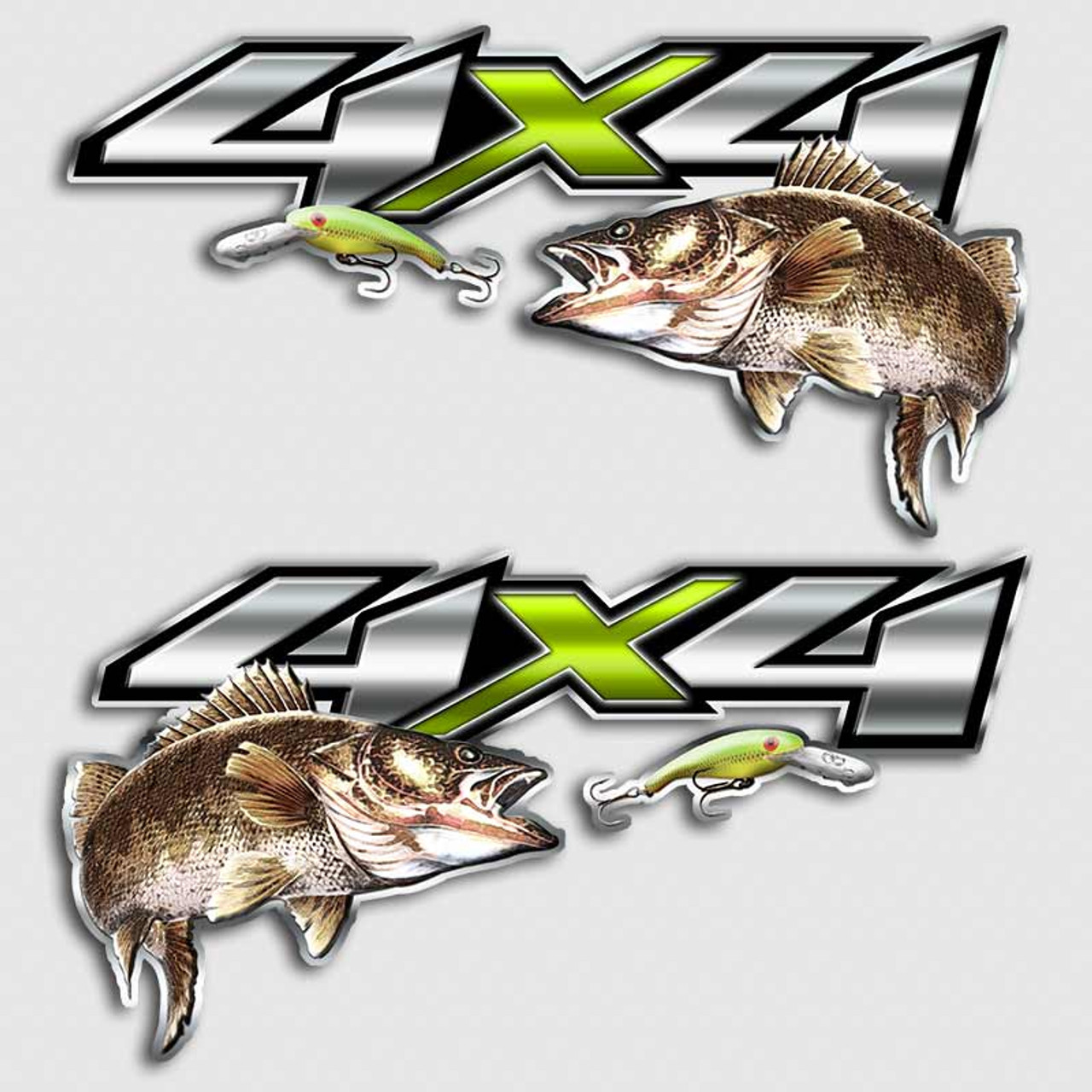 Chevy X Walleye Truck Decals Chartreuse Fishing Lure Stickers - Fishing decals for trucks