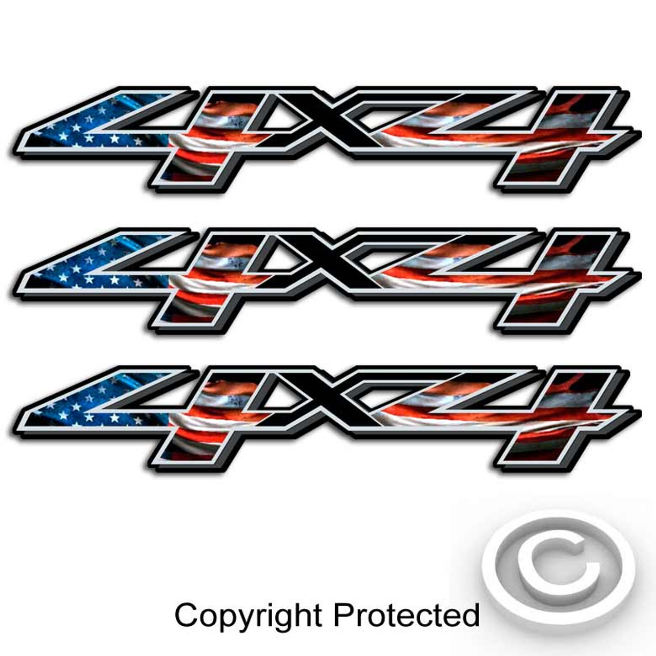 X American Flag Chevy Truck Decals - 4x4 truck decals
