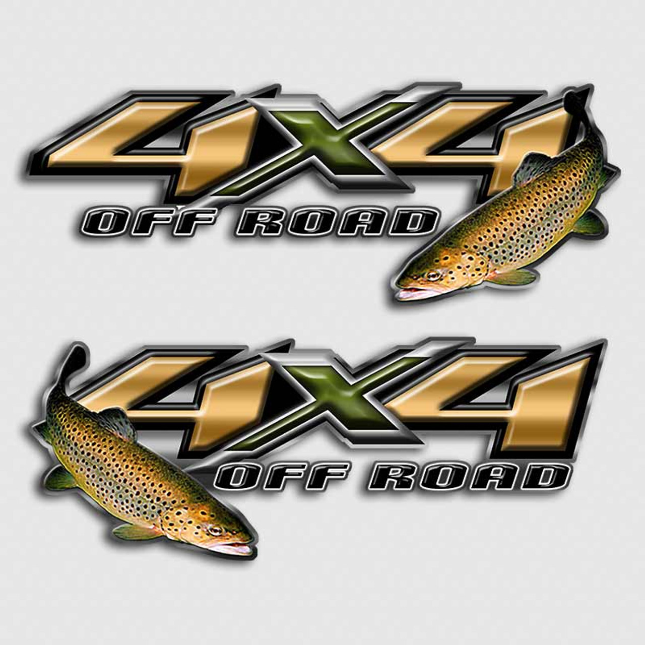4x4 brown trout fly fishing off road truck decal set for Fishing stickers for trucks