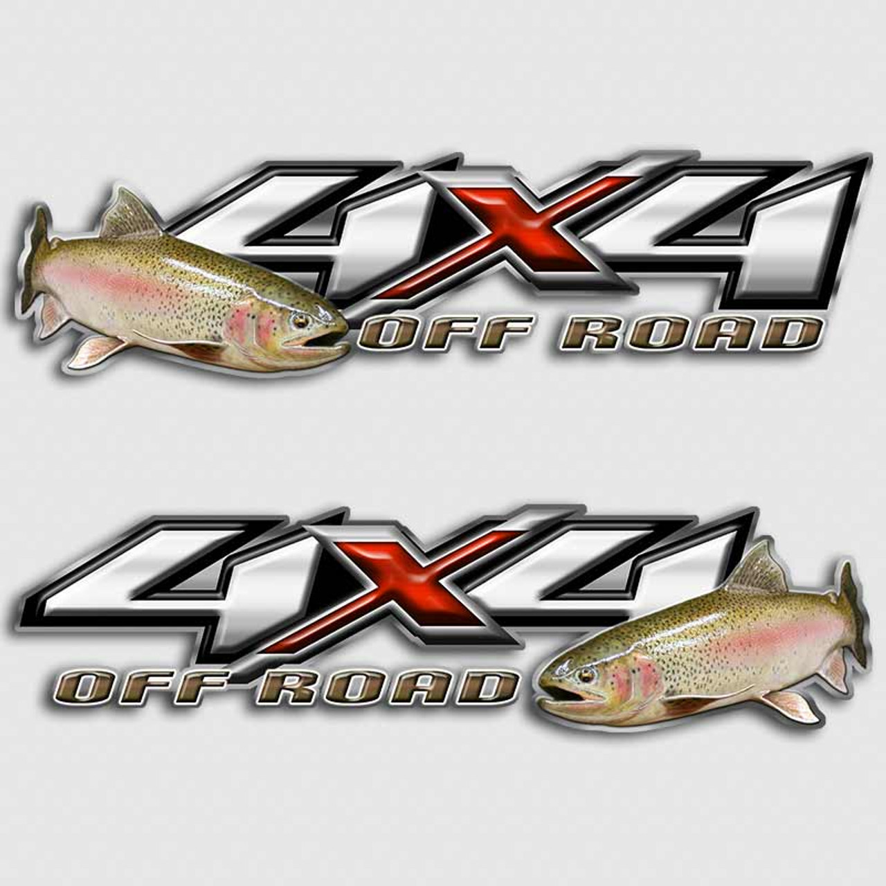 Rainbow Trout Fly Fishing X Chevy Silverado Truck Decals - 4x4 truck decals