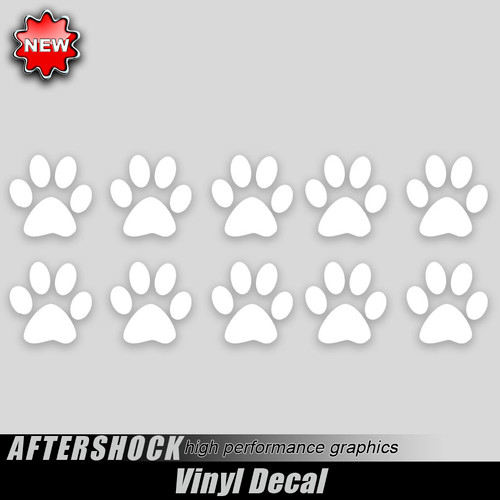 10 Dog paw Print Decals