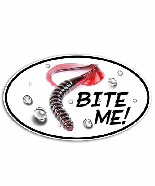 Bite Me Bass Fishing Worm Sticker