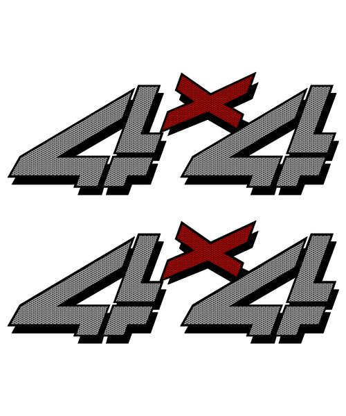Gray Carbon Fiber 4x4 Truck Sticker set