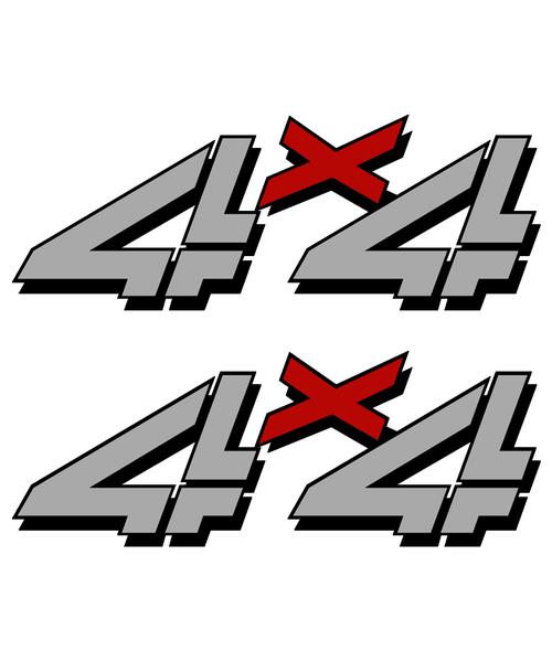 Gray Red 4x4 Truck Sticker set