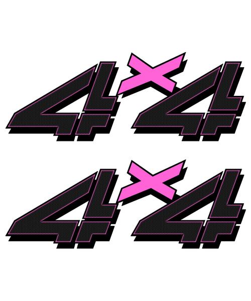 Pink Black Carbon 4x4 Truck Sticker set