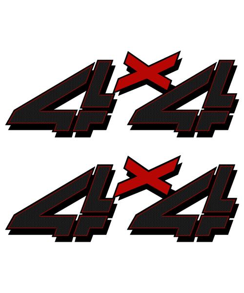 Red Black Carbon 4x4 Truck Sticker set