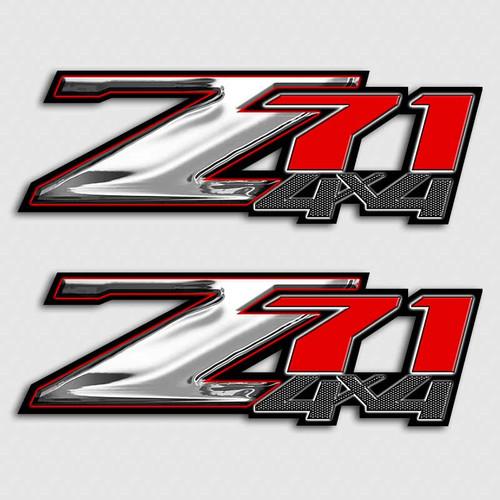 Z71 Chrome and Red 4x4 Sticker Set