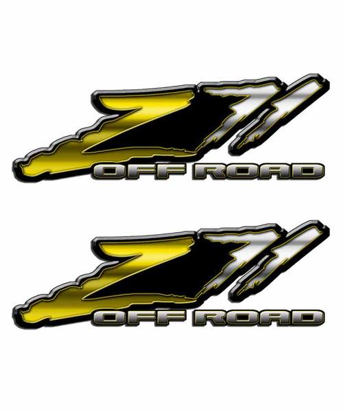 Z71 Yellow Slash Off Road Sticker Set