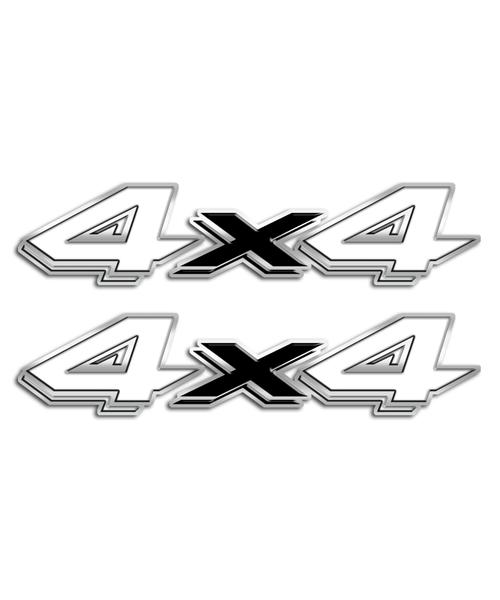 4x4 White Black Stickers
