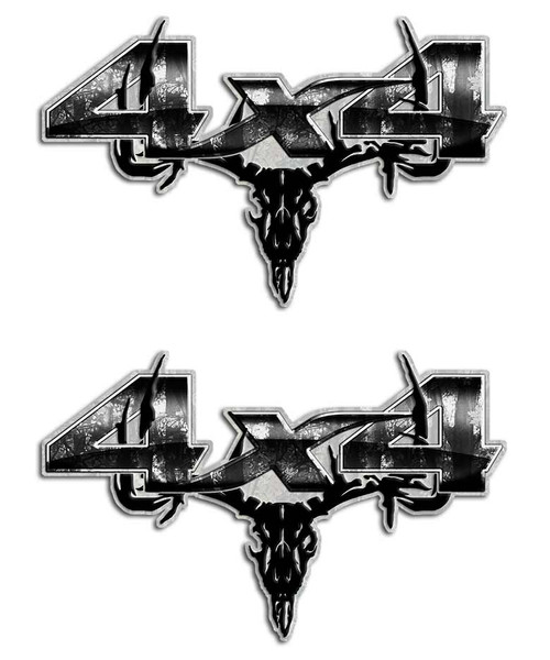 Gray Camo Skull 4x4 Sticker set
