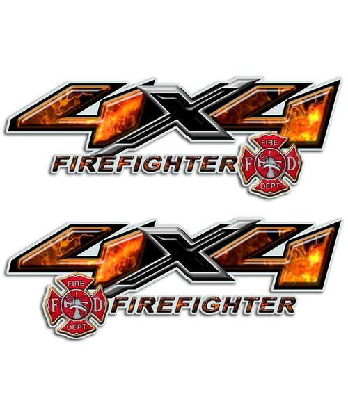 4x4 Firefighter Shield Sticker set