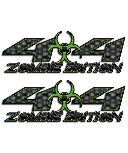 Zombie 4x4 Biohazard Carbon Fiber Green Sticker set