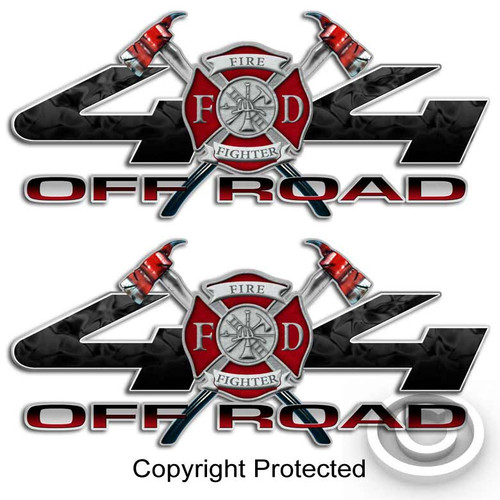 Black and Red Firefighter 4x4 Maltese Cross Sticker Set