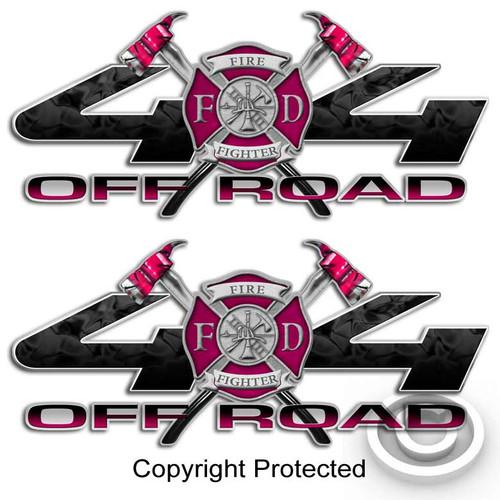 4x4 Pink Firefighter Girl Sticker Set