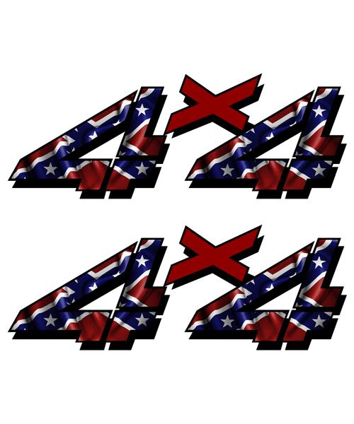Rebel Flag 4x4 Confederate Truck Sticker set