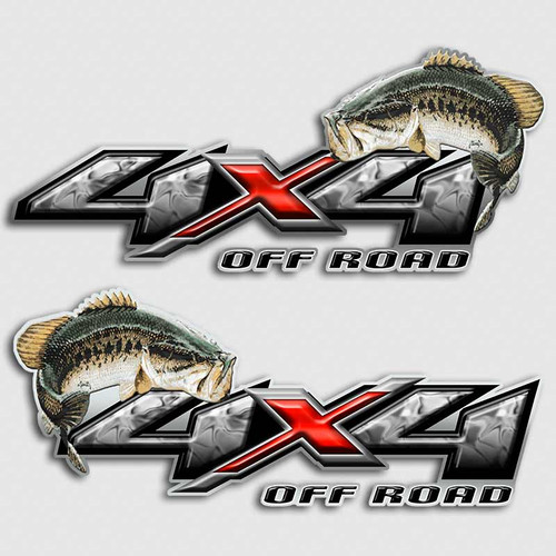 4x4 Bass Fishing Red Truck Decals