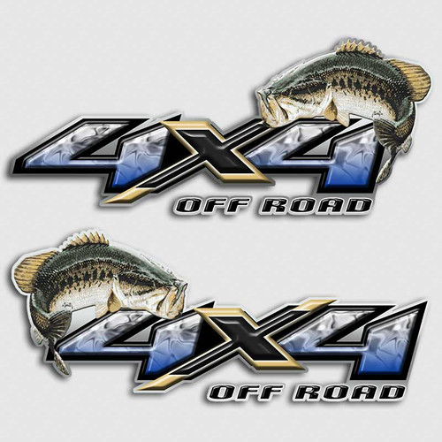 Bass fishing 4x4 truck decals off road silverado fish for Fishing stickers for trucks