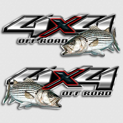 Striper bass 4x4 truck decal set off road white bass for Fishing stickers for trucks