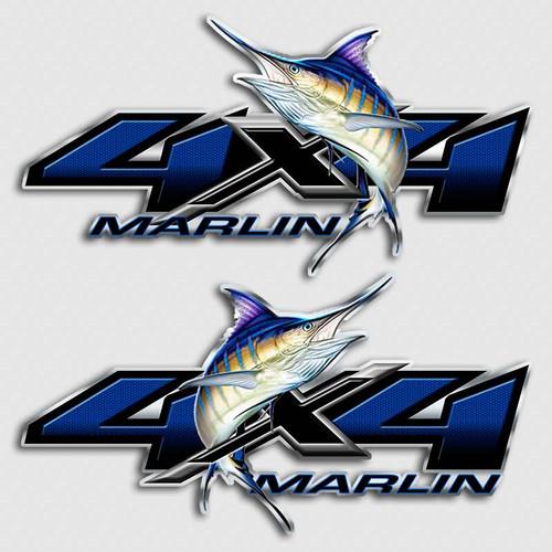 4x4 Blue Marlin Fishing Truck Decals