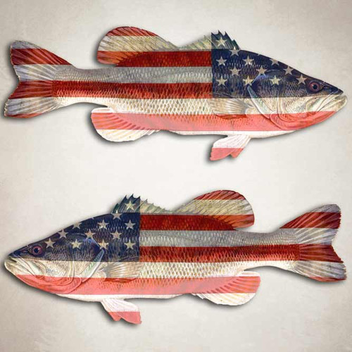 American Flag Largemouth Bass Fishing Decal Set