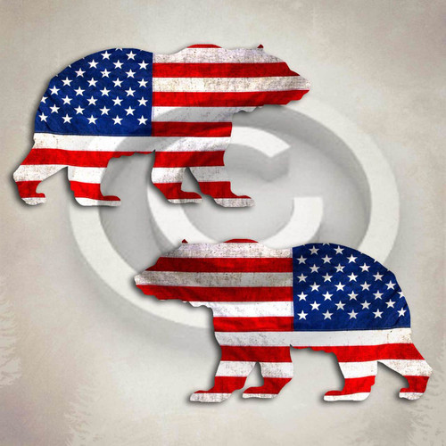 American Flag Grizzly Bear Decal Set