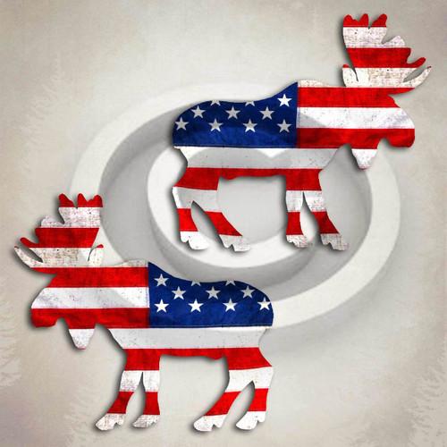 American Flag Moose Decal Set