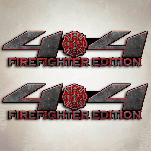 4x4 Truck Firefighter Red Decal Set