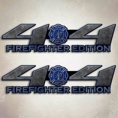 4x4 Truck Firefighter Blue Decal Set