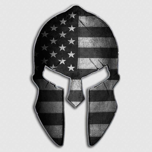 Subdued Military American Flag Spartan Helmet Decal