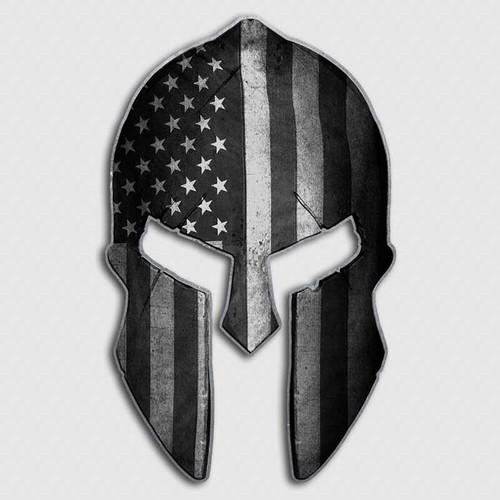 American Flag Spartan Helmet Decal | Military Warrior Stickers