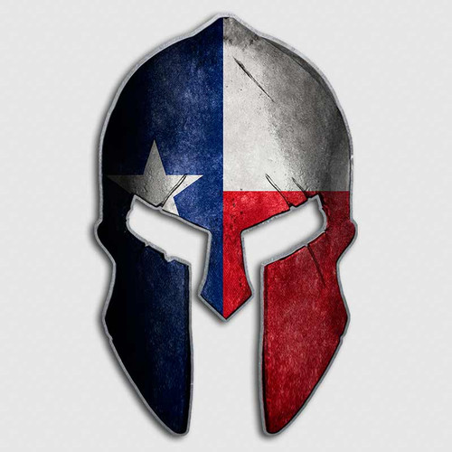 Texas Lonestar Flag Spartan Helmet Decal