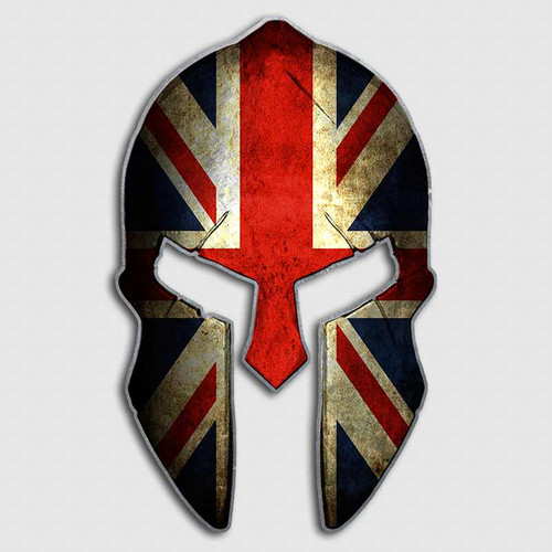 Union Jack Flag Spartan Helmet Decal