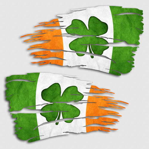 Tattered Irish Clover Flag Distressed Decal Set