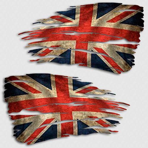 Tattered Union Jack Flag Distressed Decal Set