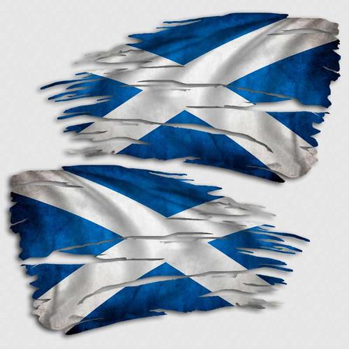 Tattered Scotland Flag Distressed Decal Set